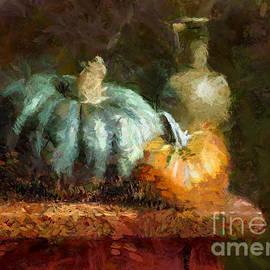 Pumpkins And A Bottle Of Pumpkin Oil by Dragica Micki Fortuna