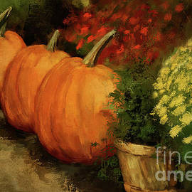 Pumpkins And Mums by Lois Bryan