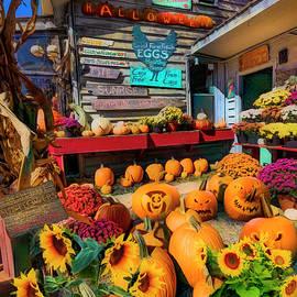 Pumpkins at the Farm Market Barn Painting by Debra and Dave Vanderlaan