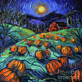 PUMPKINS NIGHT palette knife oil painting Mona Edulesco by Mona Edulesco