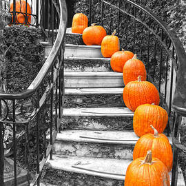 Pumpkins on a Savannah Staircase by Catherine Sherman