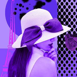 Purple girl in Paris. Digital Collage  by TeAnne Pantony