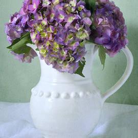 Purple Hydrangea in White Pitcher by Dianne Sherrill