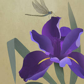Purple Iris and Dragonfly by Spadecaller