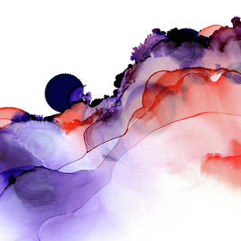Purple Moon     Alcohol Ink Impressionistic Painting by Nancy Jacobson