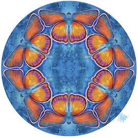 Purple Shot Copper Butterfly Blue Mandala by Tim Phelps
