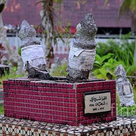 Purple tiled grave of young Muslim child buried at Pink Mosque graveyard Kuching Sarawak Malaysia by Imran Ahmed