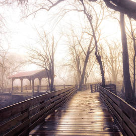 Quiet Morning Mist at the Covered Bridge in Soft Sepia by Debra and Dave Vanderlaan