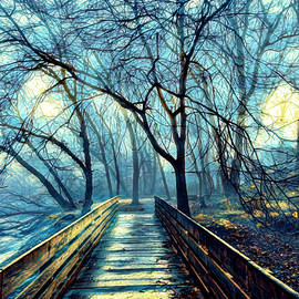 Quiet Morning Mist in Blue by Debra and Dave Vanderlaan