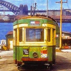 R1 tram at Darling Street wharf, Sydney 1950 by Joe Vella