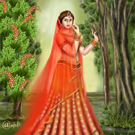 Radha's beauty in orange Indian art by Anjali Swami