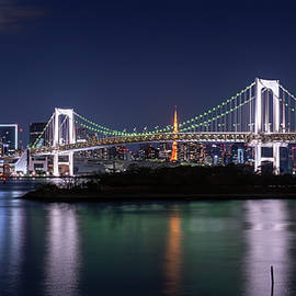 Rainbow Bridge Tokyo Japan Night by Joan Carroll