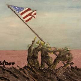 Raising the Flag on Iwo Jima  by Irving Starr