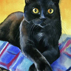 Ralph Black Cat Painting by Dora Hathazi Mendes