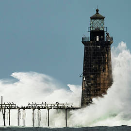 Ram Island Ledge Light Surf by Jack Milton