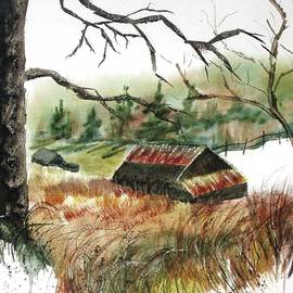 Vintage Watercolor Barn in Randolph County by Catherine Ludwig Donleycott