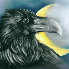 Raven and Crescent Moon by MM Anderson