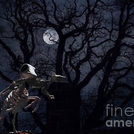 Raven and Rat Skeleton in Moonlight - Halloween by Colleen Cornelius