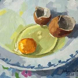 Raw Egg on Plate by John Wallie