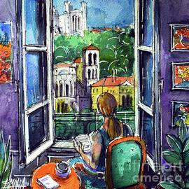 READING BY THE WINDOW - watercolor painting Mona Edulesco by Mona Edulesco