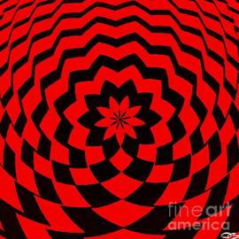 Red and Black Trippy Optical Art by Douglas Brown