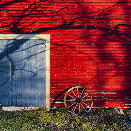 Red Barn and Shadows by Marty Saccone