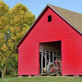 Red Barn and Tractor - Nebraska by Nikolyn McDonald