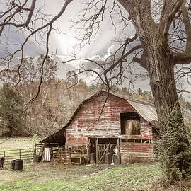 Red Barn in Autumn's Soft Embrace by Debra and Dave Vanderlaan