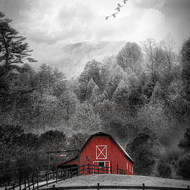 Red Barn in the Mist Black and White by Debra and Dave Vanderlaan