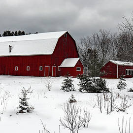 Red Barn in the Snow by David T Wilkinson