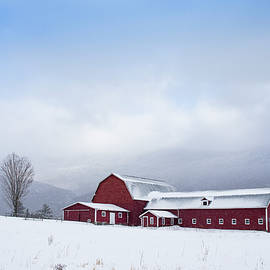 Red Barn in Winter by Dave Schmidt