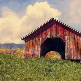 Red Barn with Haybale by David Beard