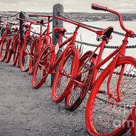 Red bikes at Lake Taupo, selective colors by Lyl Dil Creations