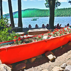 Red Boat And Geraniums by Joyce Dickens