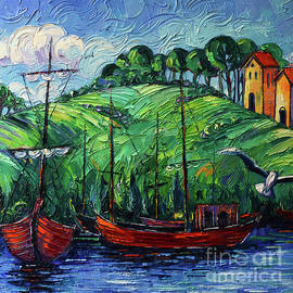 RED BOATS palette knife painting Mona Edulesco by Mona Edulesco