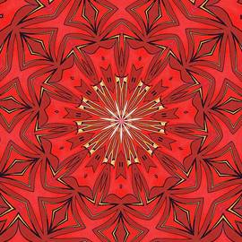 Red Bold Geometric Shapes Kaleidoscope Abstract by Taiche Acrylic Art