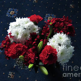 Red Carnations and White Dahlias by Kathryn Jones