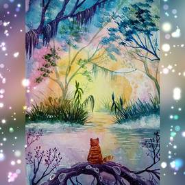 Red cat in a fantasy forest looks at the moon among the trees by Ekaterina Kentrkatty