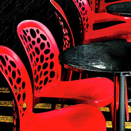 Red Chairs, Yellow Stripes by Siene Browne