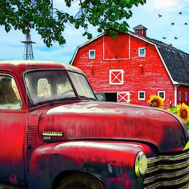 Red Chevrolet Painting by Debra and Dave Vanderlaan