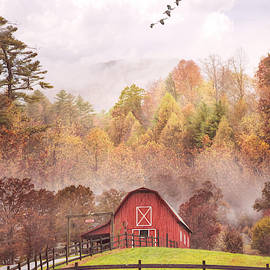 Red Country Barn in the Mist by Debra and Dave Vanderlaan