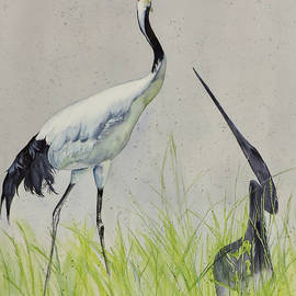 Red Crown Crane Shadow by Vicky Lilla