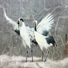 Red-Crown Crane - 1 Sweet Quiet Moment by Carmen Lam