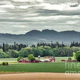 Red Farmhouse And Barn by Beautiful Oregon