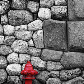 Red Fire Hydrant Selective Colour Cusco Peru by James Brunker