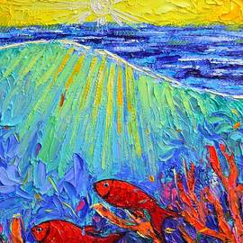 RED FISHES LOVE SUNRISE RAYS BY SEA SPONGE knife oil underwater painting detail Ana Maria Edulescu by Ana Maria Edulescu