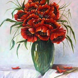 Red flowers in the green vase by Irina Davis