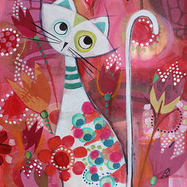 Cat and bird in the red forest by Johanna Virtanen
