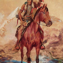 Red Indian warrior on horse  by Gull G