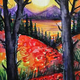 Red Poppies and the Magic Trees - watercolor painting Mona Edulesco by Mona Edulesco